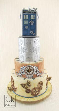 Steampunk Meets Dr Who Wedding cake by Natasha Shomali - http://cakesdecor.com/cakes/249644-steampunk-meets-dr-who-wedding-cake