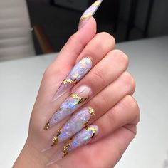 Nail art Christmas - the festive spirit on the nails. Over 70 creative ideas and tutorials - My Nails Aycrlic Nails, Swag Nails, Hair And Nails, Grunge Nails, French Nails Glitter, Long Stiletto Nails, Pointed Nails, Girly, Fire Nails