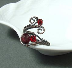 Red copper ring  wire wrapped antiqued rustic handmade Valentine jewelry