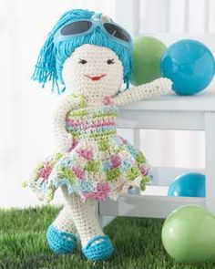 """Lily Doll Shopping in a cute Sundress  - Free Amigurumi Pattern (scroll down) - Also PDF click """"download Pattern"""" the blue box) here:  http://www.yarnspirations.com/pattern/crochet/lily-fun-sun-doll"""
