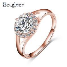 Beagloer 2016 New Elegant Rings Silver Plated Micro Inlayed Cubic Zirconia Finger Rings for Women Costume Jewelry CRI0028-B