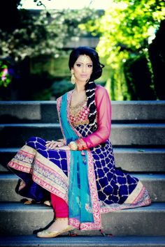 Beautiful Wedding Anarkali Churidar Kameez, Jewellery, Hair, Shoes; border can be narrower as per height...