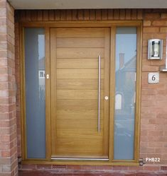 Contemporary Front Doors, oak iroko and other woods, Bespoke Doors Oak Front Door, Grey Front Doors, Modern Front Door, Front Door Entrance, House Main Door, House With Porch, Porch Doors, Windows And Doors, Garage Doors
