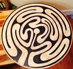 The Ebb and Flow Labyrinth, by Jim Kilpin. (My first attempt at creating a finger labyrinth on an old, reclaimed table top that somebody had thrown away in our street ...)