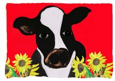 Cow and Sunflowers Farm Throw Blanket from my original art