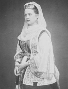 Queen Olga of the Hellenes,nee Grand Duchess Olga Constantinovna of Russia wearing a traditional Greek costume.A♥W