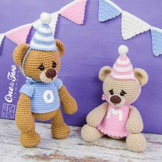 Mia and Owen the Birthday Bears amigurumi pattern by One and Two Company