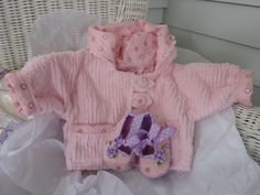 Chenille Baby Jacket and Matching Shoes