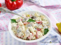 Sałatka śledziowa z jajkiem i papryką • Domowe Potrawy Pasta Salad, Potato Salad, Tea Party, Food And Drink, Potatoes, Fish, Dinner, Ethnic Recipes, Diet