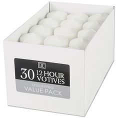 Darice Unscented 12 Hour Votive Candle 30 Pack: White X Bulk Candles, White Candles, Votive Candles, Scented Candles, Citronella Candles, Craft Shop, Craft Stores, Main Image, Save On Crafts