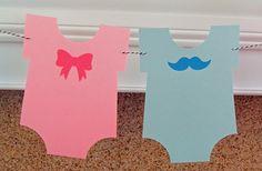 Party Banner: Gender Reveal Blue Boy Mustache & Pink Girl Bow Onesie Garland - Baby Shower gender reveal die cut mustaches bows