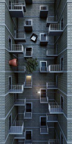 Compositie van dakterras vanuit meerdere perspectieven