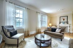 Generous sized rooms with crown moldings, large windows and French doors. Westmount - Luxury Real Estate and Homes for Sale - Carly Fridman, Realtor Crown Moldings, Common Area, Large Windows, Luxury Real Estate, French Doors, Storage Spaces, Condo, Home Appliances, Layout