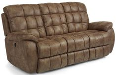 Flexsteel Furniture: Latitudes - Nashua Collection featuring power reclining sofa, loveseat and recliner. #leather #sofa