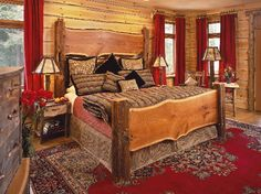 rustic wood bed! and red touches