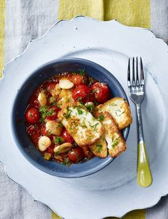 Greek butter beans with halloumi - a simple veggie recipe with Halloumi cheese and cherry tomatoes, a quick and easy midweek recipe.