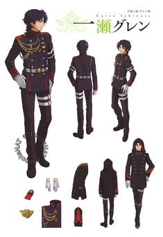 Seraph of the End (終わりのセラフ) Character designs and sketches for Guren Ichinose