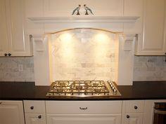 Shaker Heights kitchen remodel, custom-cut marble backsplash