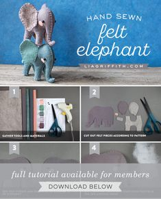 Adorable Felt DIY Elephants -- Tools, Materials, Tutorial and Steps How do you craft an elephant? We've listed out everything you need here to make these adorable felt diy elephants. Felt Animal Patterns, Felt Crafts Patterns, Stuffed Animal Patterns, Felt Templates, Applique Templates, Applique Patterns, Card Templates, Sewing Patterns, Elephant Template