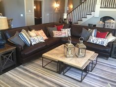 Leather sectional, family room