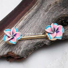 A Pair of Hawaiian Plumeria Handmade Clay Flower Nipple Barbell Nipple Rings, Belly Rings, Body Mods, Vintage Roses, Barbell, Body Jewelry, Ear Piercings, Hawaiian, Hair Accessories