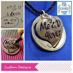 """Personalised Cut Coin Pendant by """"The Coins Shop"""" Coin Pendant Necklace, Ring Earrings, Washer Necklace, Coin Jewelry, Jewelry Shop, Jewelry Making, Middle East Map, Stone Town, Coin Shop"""