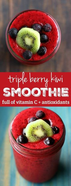 A Triple berry kiwi smoothie that's packed with antioxidants and vitamin C. Perfect for the winter months! Triple Berry Kiwi Smoothie - This triple berry smoothie is full of antioxidants and vitamin c to help keep you healthy this winter! Yummy Drinks, Healthy Drinks, Healthy Eating, Healthy Recipes, Easy Recipes, Snacks Recipes, Clean Eating, Kiwi Recipes, Healthy Milk