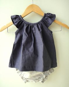Navy Blue Linen Baby Girl Dress and Bloomer Set by bluedaisywares