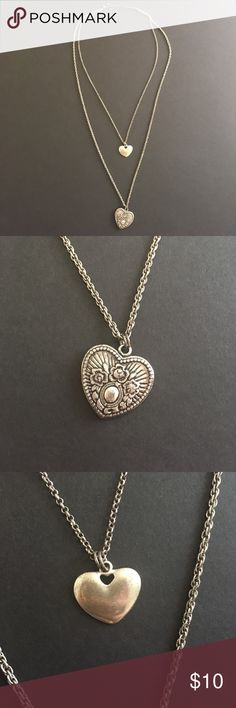 Silver double heart necklace Worn once! Excellent condition! American Eagle Outfitters Jewelry Necklaces