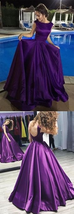 """Purple Prom Dresses,Backless Prom Dresses,Charming Prom Dress,Long Prom Dress,Satin Formal Dress,Simple Prom Dress 10084 #AlinePromDresses #purplepromdresses #backlesspromdresses #longpromdress #eveningdress #promdresses #partydresses #2018promdresses #ballgown #Prettylady """