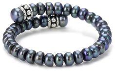 "Honora ""Pallini"" Black Freshwater Cultured Pearl Coil Cuff Bracelet Honora"