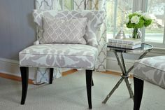 Love the different patterns in grey.  My favorite is the quatrefoil on the curtains.