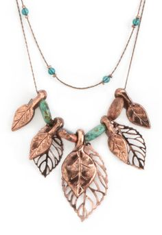 Chocolate Dangle Leaves Necklace - Christopher & Banks
