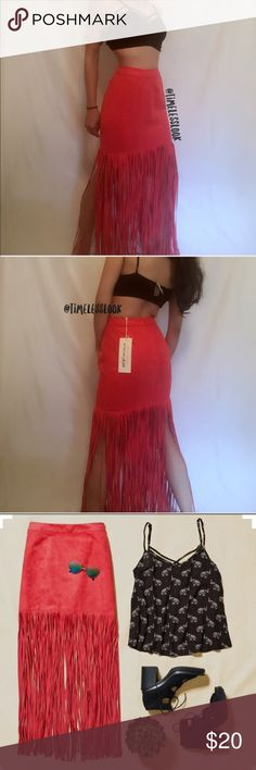 """Coachella tribal music festival fringe suede skirt •no trades 🚫 •SHIPS TOMORROW💋  •Brand new!   soft fabric- vegan suede from H&M Limited Edition for Coachella 2016 - I initially purchased for myself for burning man this weekend but have another outfit! Perhaps you can rock this sometime :)  @goguios in insta 📸 🎀visit """"Closet Rules"""" for more info - Timeless Look Men  👦🏾👦🏽👦🏼@timelesslookmen NOW OPEN more info in closet 💕👦🏿👦🏻 H&M Skirts Maxi"""