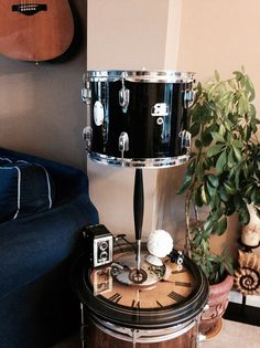 Broken CB drum turned into an industrial chic lamp. For more musical lighting, gifts, and art visit us at: www.musicasartbysarah.etsy.com