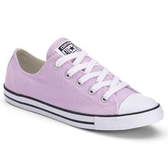 Women's Converse Chuck Taylor All Star Dainty Sneakers ($50) ❤ liked on Polyvore featuring shoes, sneakers, purple, canvas lace up shoes, canvas sneakers, low top canvas shoes, canvas shoes and low profile sneakers