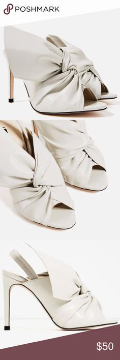 ZARA ECRU LEATHER HIGH STILETTO SLINGBACK NWOT Off white leather slingback sandals with a knot from Zara. Zara Shoes Heels