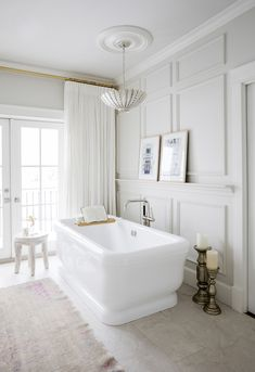 Beautiful stand alone bathtub - Jillian Harris. My Go-To Spot for Home Furniture & Decor Revealed! Bathroom Windows, Bathroom Renos, Bathroom Interior, Home Interior, Bathroom Ideas, Bathroom Remodeling, Bathroom Colors, White Bathroom, Small Bathroom