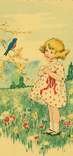 Little girl looking up at the beautiful Bluebird reminds me of my childhood where I grew up. There were so many beautiful Bluebirds in Northern California.
