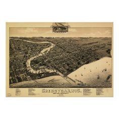 Sheboygan WI 1885 Antique Panoramic Map Print
