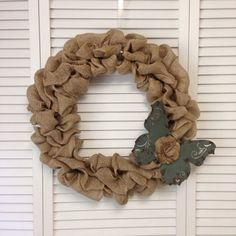 Unique Butterfly, Spring Wreath, Burlap Wreath with Metal Blue Butterfly, Spring Burlap Wreath, Wreath for All Year