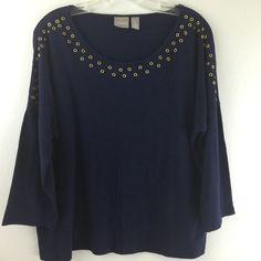 Chicos 2 Top Blue Drop Shoulder Grommet Scoop Neck 3/4 Sleeve Blouse M L 12 14 #Chicos #KnitTop #Casual