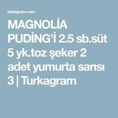 MAGNOLİA PUDİNG'İ 2.5 sb.süt 5 yk.toz şeker 2 adet yumurta sarısı 3   Turkagram
