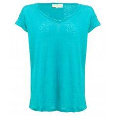 American Vintage Lynwood V neck Linen T-Shirt in Oasis Blue