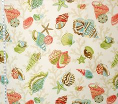 Seashell fabric starfish sea stars coral funky from Brick House Fabric: Novelty Fabric. --Use to make a pillow for the green chair in bedroom.