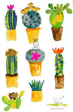 ABC das Suculentas: Aquarelas cactus watercolor