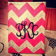 Easy to make chevron canvas. Painted with pink silk and glittery silver paint from the #MarthStewart Collection, monogram done in sharpie.  #monogram #chevron #sorority #crafts