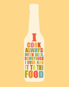 Art Print I cook with BEER 8 x 10 funny poster wall decoration in peach banane