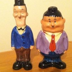 Collectible Laurel Hardy Salt & Pepper Shakers Salt N Peppa, Salt Of The Earth, Laurel And Hardy, Salt And Pepper Set, Salt Pepper Shakers, Cookie Jars, Kitsch, Spice Things Up, Fuzzy Chair