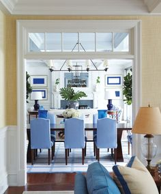 Explore a Greenwich home with just the right touch of blue - Connecticut Cottages & Gardens - October 2013 - Connecticut Beautiful Space, Beautiful Homes, Connecticut, White Rooms, White Decor, Dining Area, Fine Dining, Dining Chairs, My Dream Home